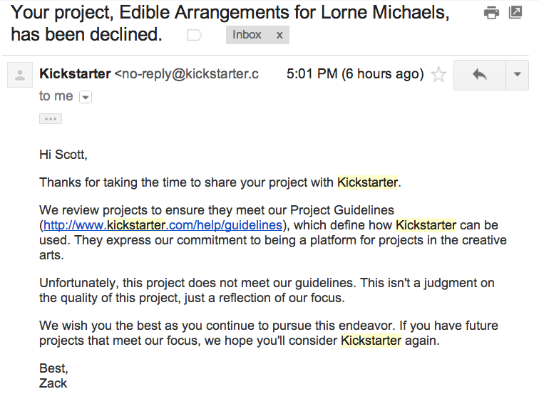 Kickstarter Rejection